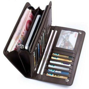 Men's Bifold Leather Coin Multi Card Holder